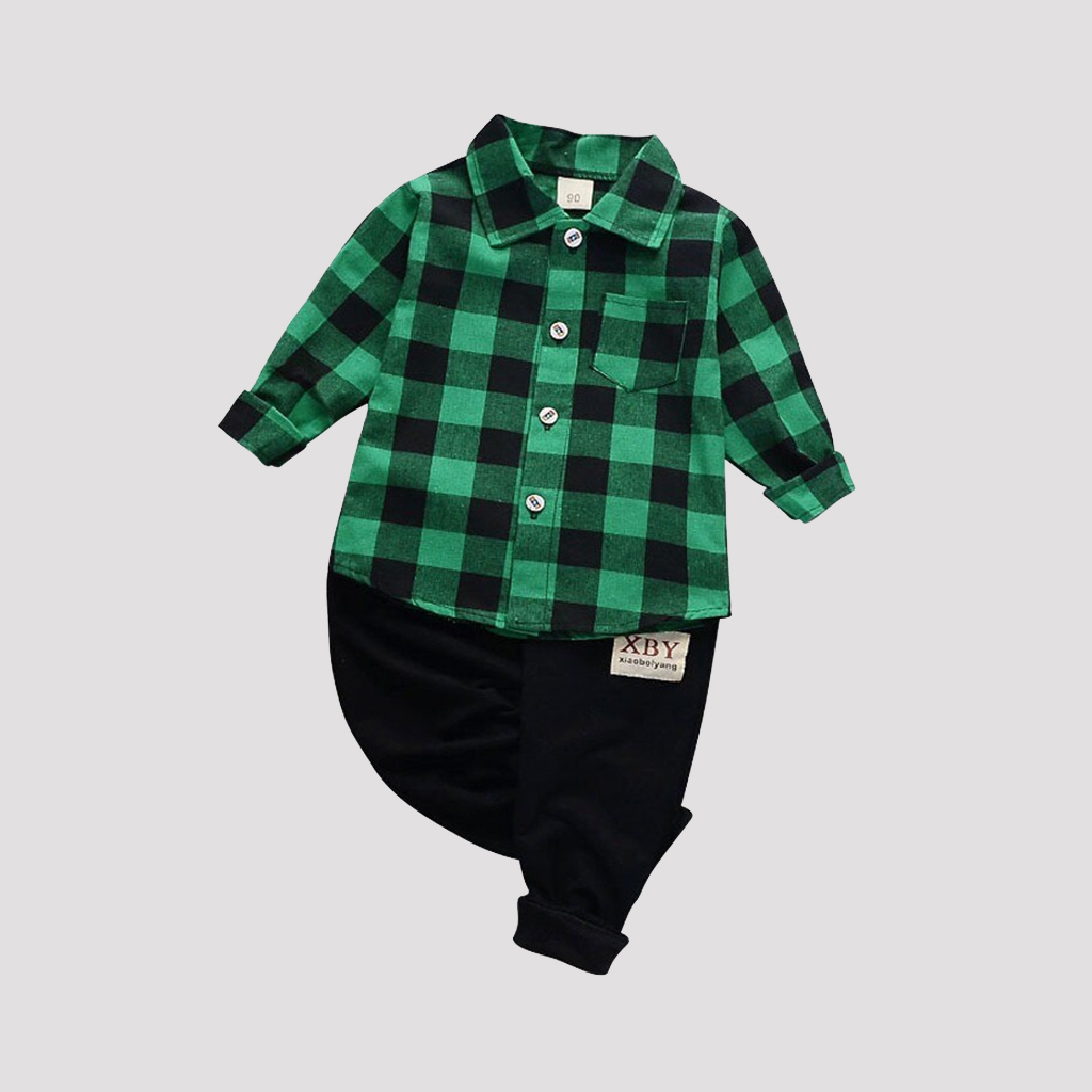 Fashion Plaid Boy Clothing Set