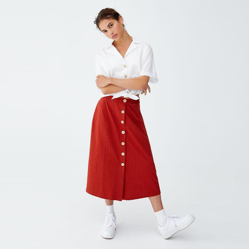 Cotton skirt with Buttons